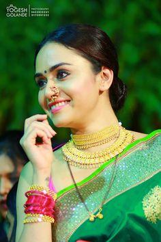 Amruta Khanvilkar in jewellery by Marathi Bride, Marathi Wedding, Marathi Nath, Maharashtrian Jewellery, Bridal Chura, Indian Bridal Fashion, Bridal Photoshoot, Saree Look, Beautiful Saree