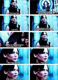 -Katniss to District 11 (Rues and Thresh's District) this made me cry really hard in public