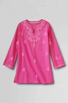 Girls' Woven Pattern Tunic Cover-up from Lands' End