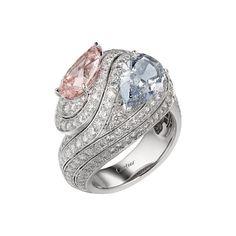 GABRIELLE'S AMAZING FANTASY CLOSET   Cartier  - RésonancesDeCartier. Fine jewellery. Pear Cut Pink & Blue Diamonds mounted in 18k White Gold and White Diamond Pave