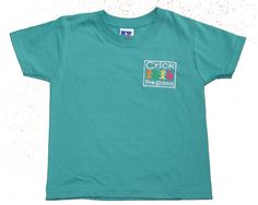 Kids Emerald Green 100% cotton t-shirt embroidered for Crick pre-school.