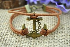 Anchor charm braceletbronze anchorbrown by HandmadeTribe on Etsy, $2.50
