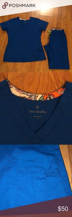 Vera Bradley Scrub Set Vera Bradley Scrub Set Size: Top-Small          Bottoms-Small Petite Color: Royal Blue These are beautiful! Very soft & Comfy! Vera Bradley Tops