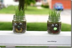Fun rainy day activity.  Decorate baby food jars and grow wheat grass.