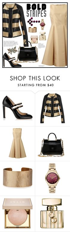 """""""Formal Outfit"""" by boky-d ❤ liked on Polyvore featuring Michael Kors, Dolce&Gabbana, Panacea, Karl Lagerfeld, Stila, Gucci, dress, formal, neutral and BoldStripes"""