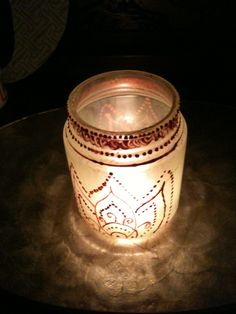 Bargain-ista- morrocan lantern from old glass jar