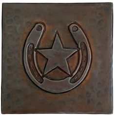 Hammered Copper Tile by Hammermarc. $7.50. New, smooth design on hammered copper tile. Horseshoe/Star design can be applied as backsplash, accents in showers/baths and floors. Use anywhere a ceramic tile can be used. Hand Hammered Copper Tile. Sold Individually. Hand Hammered with ceramic tile backers.. Save 75%!