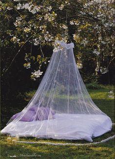 Bed in a Garden