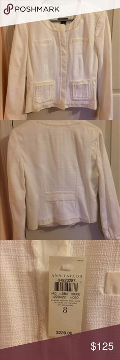 NWT White Anne Taylor jacket Size 8 Ann Taylor white jacket. New with tags! Two working pockets. Small fringe trim. Beautiful detail. Ann Taylor Jackets & Coats Blazers