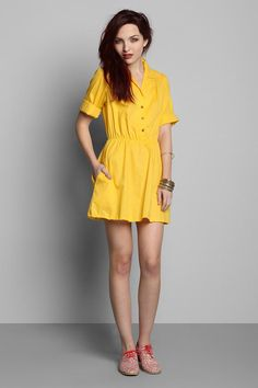 Vintage '80s Yellow Button-Down Shirtdress #urbanoutfitters #vintage