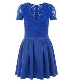 Mela Blue V Neck Lace and Scuba Dress