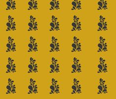Spring Bloom in Mustard and Black fabric by kanalshah on Spoonflower - custom fabric