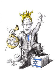 "Cartoon titled: ""Bibi King of Fear"" By Iranian American Cartoonist, Kaveh Adel 2015©KavehAdel.com"