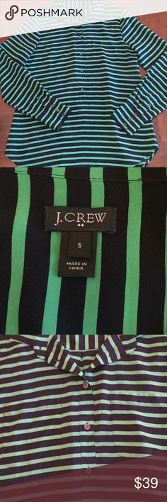 J. Crew Silk Blouse Beautiful and looks new! Navy & green stripe. Loose fit. Silky flow. 2 pocket front. Longer tunic style. 3/4 button down front. Collar. Back has pleat with contrasting strips on top of blouse. EUC J. Crew Tops Blouses