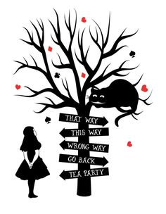 "Alice in Wonderland ""This Way"" Typography Decorative Vinyl Wall Sticker"