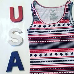 Star and Stripes Tank Top Ribbed. Star and stripe pattern. Sleeveless Faded Glory Tops Tank Tops