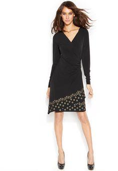 MICHAEL Michael Kors Grommet-Trim Faux-Wrap Dress