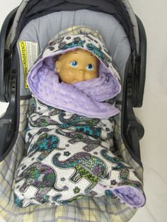 Baby Carseat and Stroller Blanket  Purple by MadeByMamaBear, $40.00
