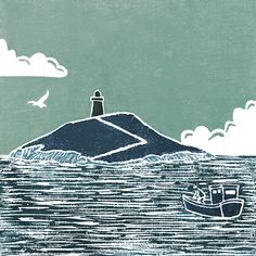 'Watching from the Shore'  Original handmade print of Ballycotton island and lighthouse, Co. Cork