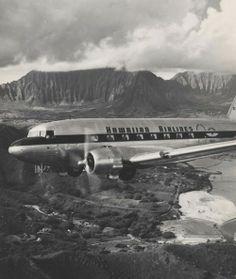 Hawaiian Airlines over Kaneohe, 1963.