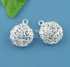 Wholesale – pendant, copper, silver plated, 18x14mm hollow flat round. pack of 10 LINLISSB07484