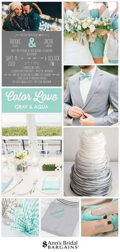 Simple, bright and romantic. Gray and aqua is a fabulous combination, and we've completely fallen in love with them as wedding colors. Check out this Color Love and see how these colors could elevate your wedding look to something truly special.