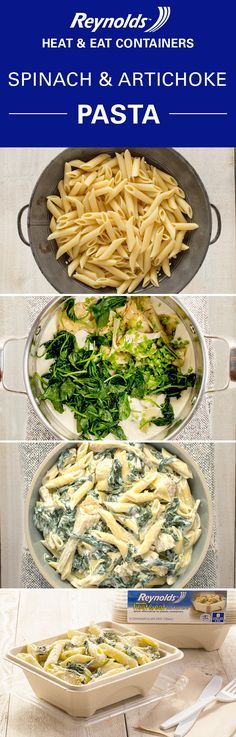 Dinner today, lunch tomorrow! This cheesy Spinach and Artichoke Pasta is quick and easy, and makes quite a few servings, so you'll have lots of leftovers. Pack them in a Reynolds Disposable Heat & Eat container and enjoy as a mouthwatering midday meal at work! These containers are made from plant fibers, so they're perfect for the microwave and make a great alternative to plastic. Even better? There's no cleanup when you're done.