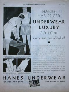 1930 ad Mens Underwear HANES Boxers Union Suit ~ Men in Locker Room