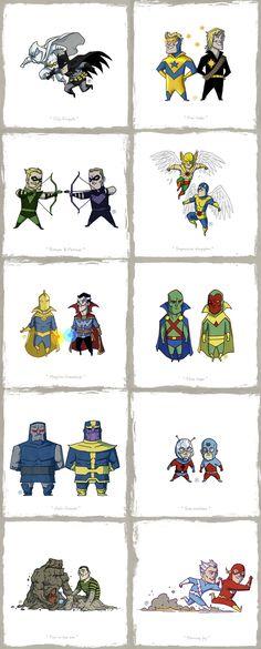Little Friends. A Marvel/DC mashup by Darren Rawlings http://rawlsy.deviantart.com/