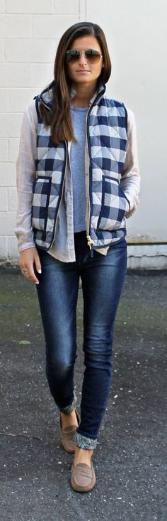 Blue And White Checkered Puffer Vest | Street Fashion