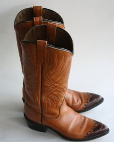 Acme Tan and Brown Vintage Cowboy Boots 5 1/2 by gremlina on Etsy, $135.00