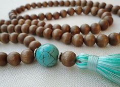 Mala tassel necklace, 108 chunky wooden beads with a turquoise guru bead