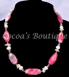 Freshwater Pearl Fuschia Agate and Crystal Chunky Necklace with Sterling Silver | eBay