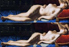 """there is a whole series of these classic paintings Photoshopped to make the women more """"ideal"""" click to see the rest. yuck."""