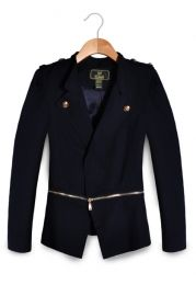 Zip Embellished Long Sleeve Suit Coat - Apparel