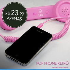 Projetado pelo designer francês David Turpin, inspirado nos clássicos telefones da década de 50. o Pop Phone é um sofisticado e estiloso aparelho  Compatível com celulares, tablets e computadores