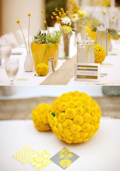 The cutest yellow flower : billy buttons or billy balls for weddings Design Floral, Deco Floral, Art Floral, Diy Wedding Decorations, Reception Decorations, Reception Table, Decor Wedding, Table Decorations, Table Centerpieces
