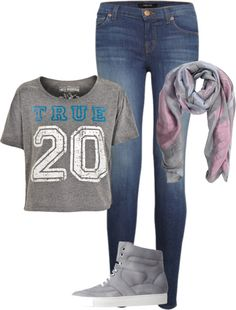 """Gray croptop and skinnies"" by brandyayers on Polyvore"