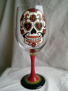 Sugar Skull Hand Painted Wine Glass by PaintFromScratch on Etsy, $18.00