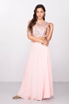 475a70d574c12 Rent ESHA COUTURE - Pink Embroidered Crop Top With Flared Skirt Pink  Lehenga