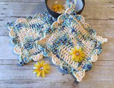 Crochet Potholder, Cotton Potholder, Yellow/Blue Potholder, Potholder Set, Gift for her, Cotton Crochet, Potholder, Handmade, Ready to Ship by CraftCreationsbyRose on Etsy