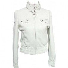 Women's Punched White Biker Leather Jacket
