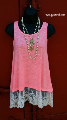 Rhapsody in Neon Pink Tank with Lace - Also in Plus Size www.gypzranch.com