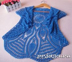 Luty Artes Crochet: Bolero azul de crochê com gráfico