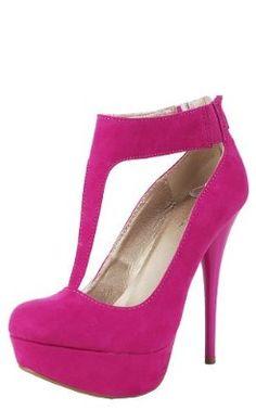 Amazon.com: Neutral202x Suede T-Strap Pumps FUCHSIA: Shoes
