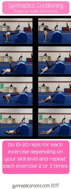Gymnastics Conditioning: 6 Intermediate Exercises To Do On an Octagon (or Stability Ball) – Gymnastics Rocks! Gymnastics Warm Ups, Gymnastics At Home, Preschool Gymnastics, Gymnastics Coaching, Gymnastics Workout, Gymnastics Lessons, Gymnastics Things, Gymnastics Party, Gymnastics Outfits