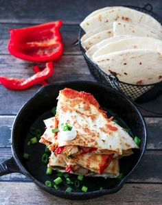 Chicken Fajita Quesadillas are a cheesy spin on a classic. Full of fajita veggies, tender chicken and lots of cheese these are perfect any night! Chicken Fajita Quesadilla Recipe, Quesadilla Recipes, Chicken Fajitas, Lunch Recipes, Mexican Food Recipes, Breakfast Recipes, Dinner Recipes, Cooking Recipes, Ethnic Recipes