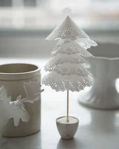 Turn Lace Doilies into Dainty Christmas Trees - Dozens of Colors Here