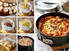 チーズとベーコンの朝食 キャセロール - キッシュとフレンチトーストとオムレツが一緒になった朝食はいかがですか。作り置きが出来るので、大勢の集まりにも最適です。