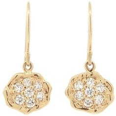 Jamie Joseph Small Pave Diamond Turtle Earrings - Yellow Gold ($1,750) ❤ liked on Polyvore